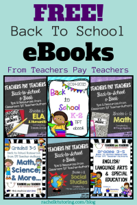 Free Back To School eBooks | Rachel K Tutoring Blog