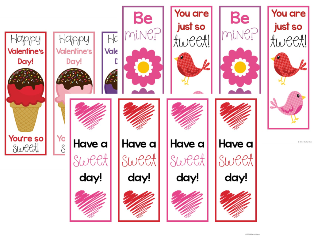 valentine bookmarks to color : Free Valentine Printables