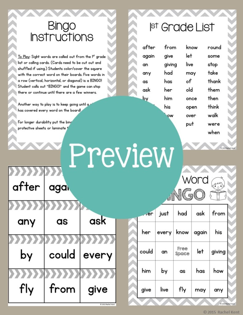 Sight Word Bingo Boards | Rachel K Tutoring Blog