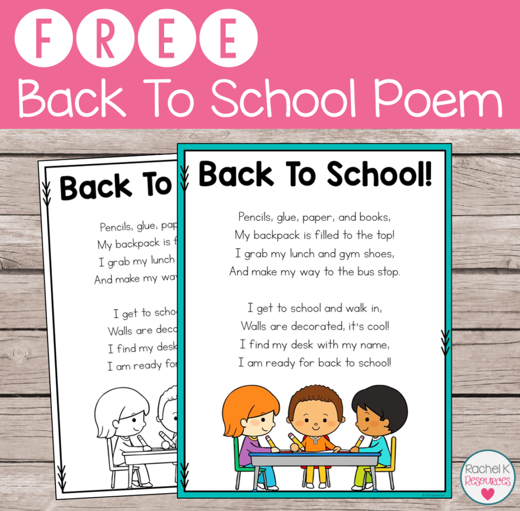 Free Back To School Poem
